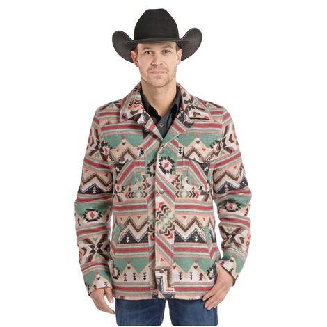 Panhandle Slim Mens Tan Red Green Aztec Wool Jacket
