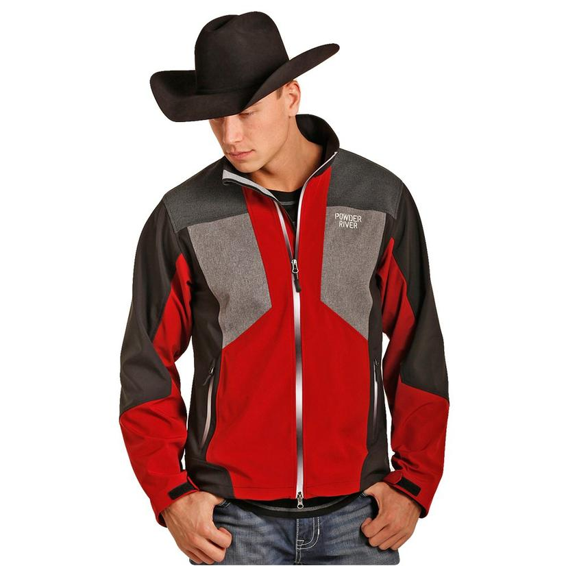 50deafcb137 Powder River Mens Red Black Grey Softshell Jacket