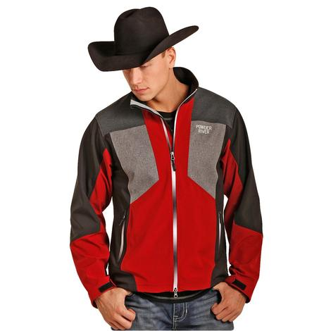 Powder River Mens Red Black Grey Softshell Jacket