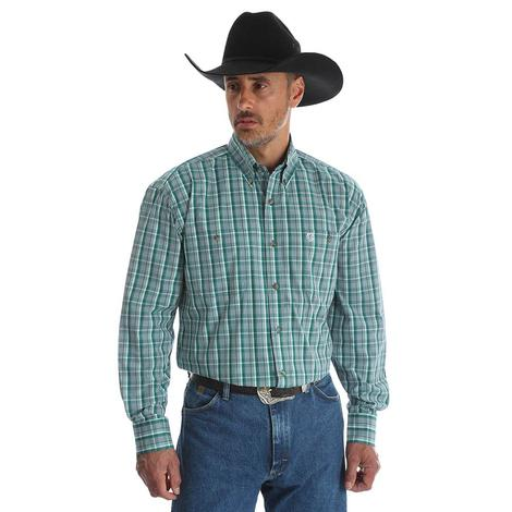 Wrangler Mens George Strait Green Plaid Long Sleeve Shirt
