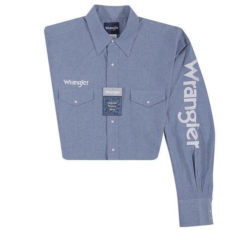 Wrangler Mens Denim Logo Long Sleeve Snap Shirt