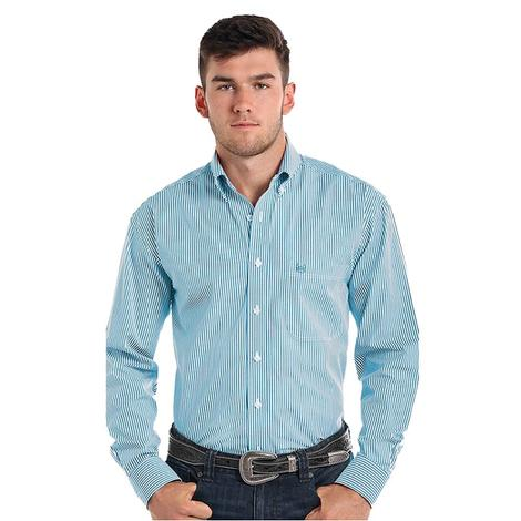 Panhandle Slim Mens Turquoise Pinstripe Button Down Long Sleeve Shirt
