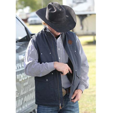 Cinch Mens Fleece Lined Black Canvas Vest