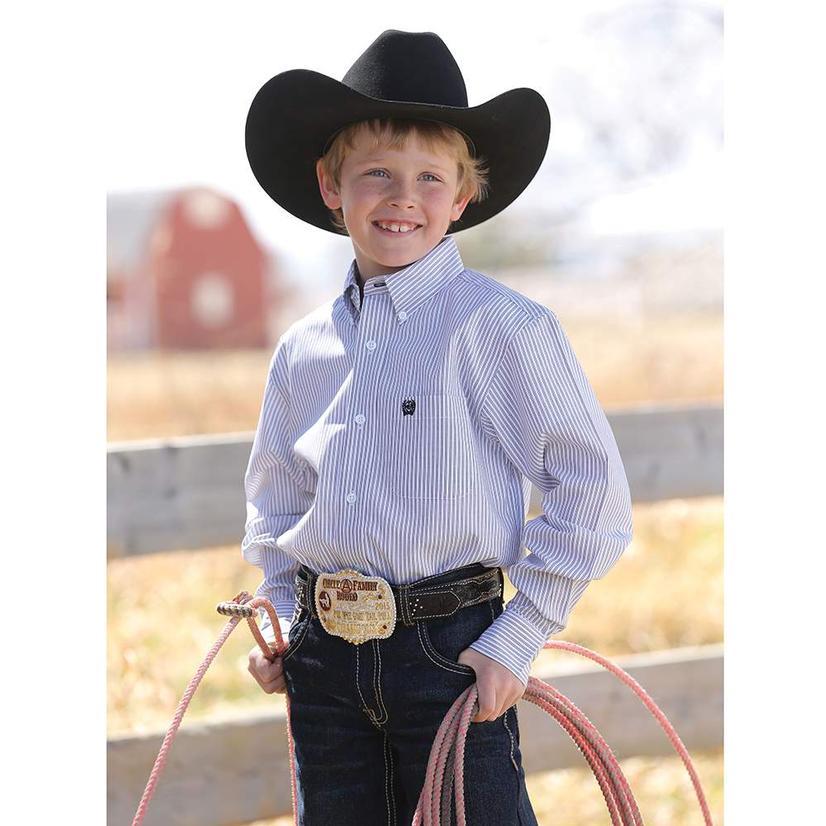 Cinch Boys Blue Stripe Button Down Long Sleeve Shirt