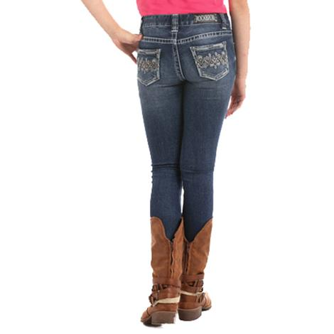 Rock & Roll Cowgirl Girls Extra Stretch Aztec Embroidered Skinny Jeans