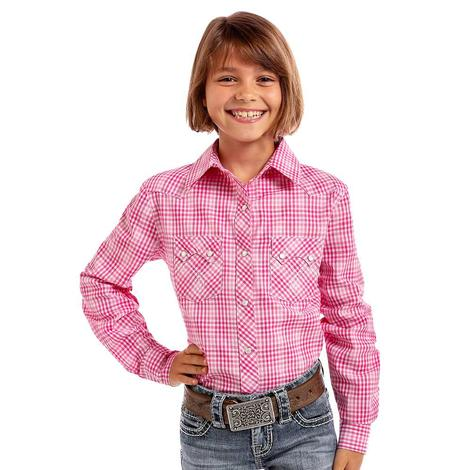 Panhandle Girls Checkered Plaid Lurex Long Sleeve Snap Shirt