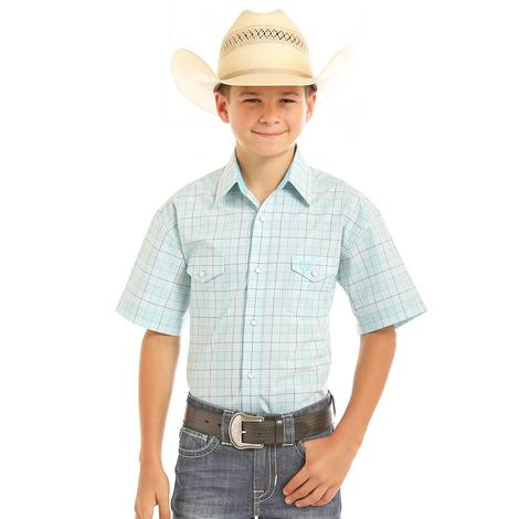 Panhandle Boys Checkered Plaid Short Sleeve Snap Shirt