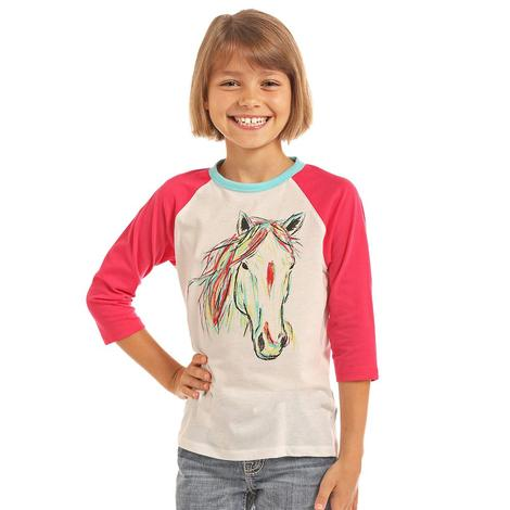 Rock & Roll Cowgirl Girls Hand Painted Horse Baseball Tee