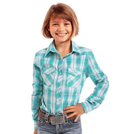 Panhandle Girls Woven Plaid Long Sleeve Snap Shirt