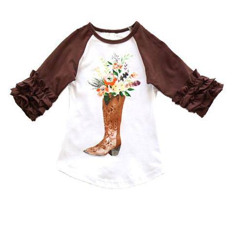 Brown and White Boots w/Flowers Top