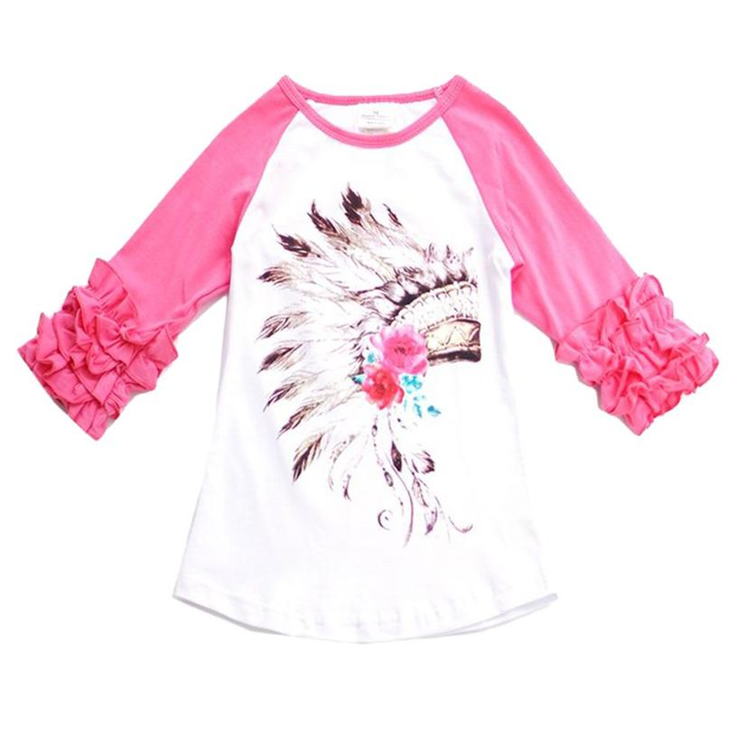 Girls Hot Pink And White Feather Head Dress Raglan Sleeve Top
