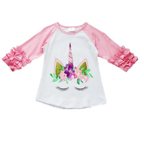 Girls Pink and White Unicorn Raglan Sleeve Top