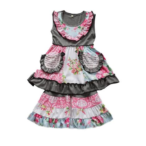 Girls Grey and Pink Floral Ruffle Set
