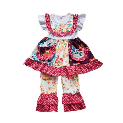 Girls Burgundy Flower Owl Ruffled Set