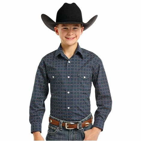 Panhandle Slim Boys Navy and Brown Diamond Print Long Sleeve Shirt