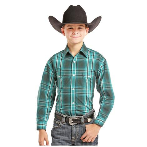 Panhandle Slim Boys Teal Plaid Long Sleeve Shirt
