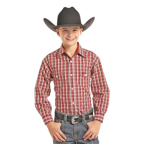 Panhandle Slim Boys Red White Plaid Long Sleeve Snap Shirt