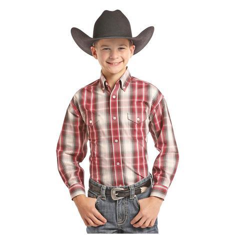 Panhandle Slim Boys Red Brown White Plaid Long Sleeve Button Down Shirt