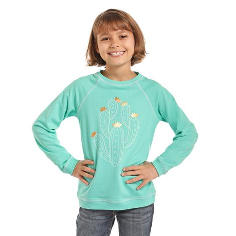 Panhandle Slim Girls Turquoise Cactus Sweatshirt