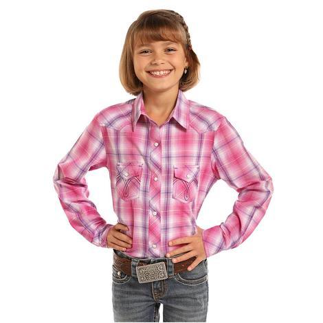 Panhandle Slim Girls Hot Pink Plaid Long Sleeve Snap Shirt