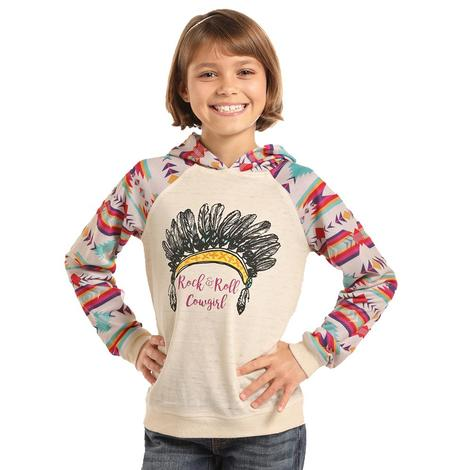 Panhandle Slim Girls Natural and Cream Indian Head Aztec Hoodie