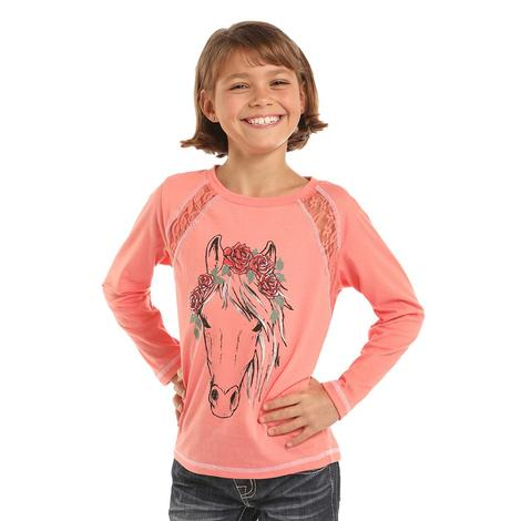 Panhandle Slim Girls Coral Long Sleeve Horse and Lace Shirt