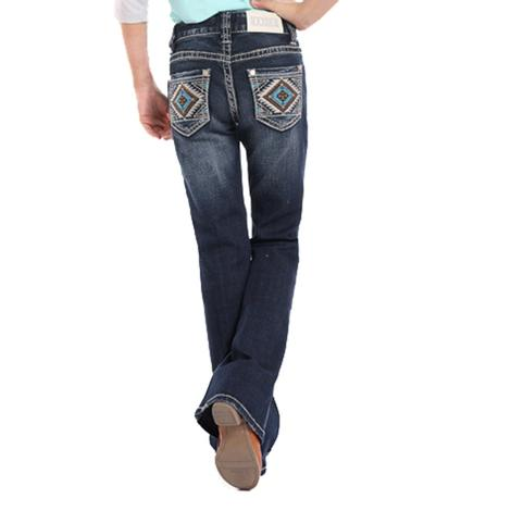 Rock and Roll Cowgirl Womens Dark Wash Aztec Pocket Jeans