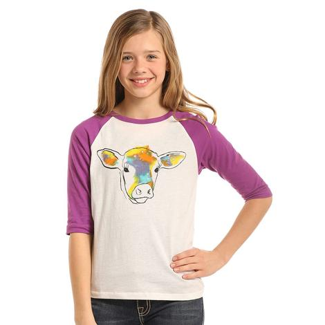 Rock and Roll Cowgirl Girls Violet White Cow Baseball Tee