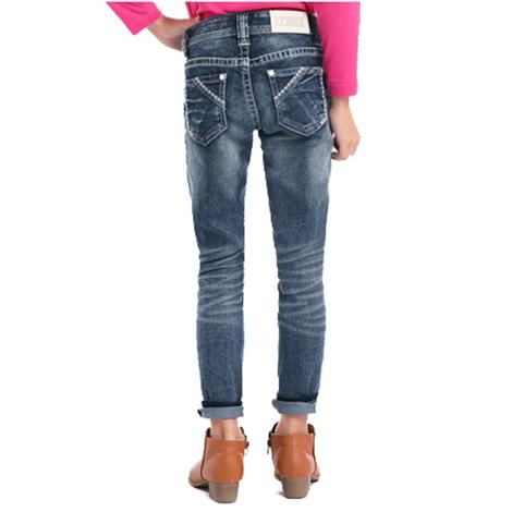 Rock and Roll Cowgirl Girls Dark Vintage Extra Stretch Skinny Jeans