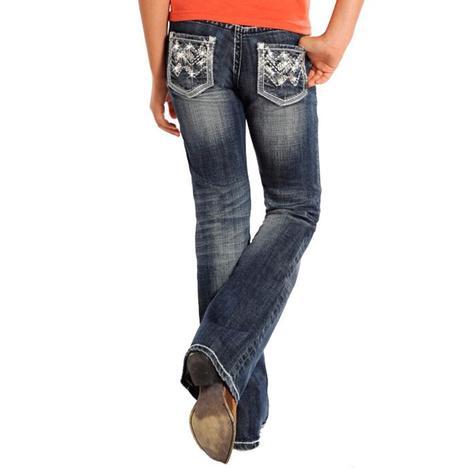 Rock & Roll Cowgirl Girls Dark Wash Jeans