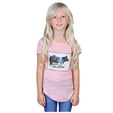 Southern Grace Girls This Little Piggy Pink Tee