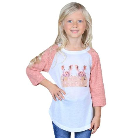 Southern Grace Girls Pink & White Lets Get Piggy With It Tee