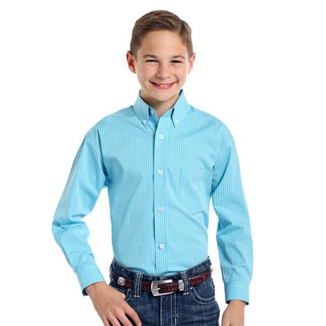 Panhandle Slim Boys Turquoise Striped Long Sleeve Button Down Shirt