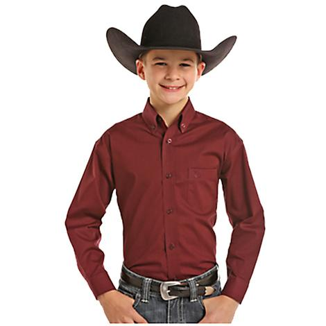 Panhandle Slim Boys Long Sleeve Burgundy Button Down Shirt