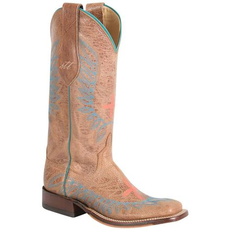 Anderson Bean Womens Tan and White Eagle Stitch Western Boots