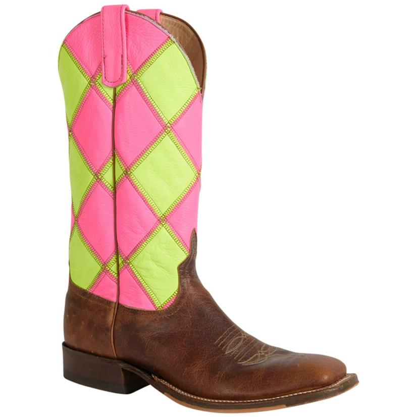 Anderson Bean Womens Tan Goat Patchwork Lime Green Western Boots
