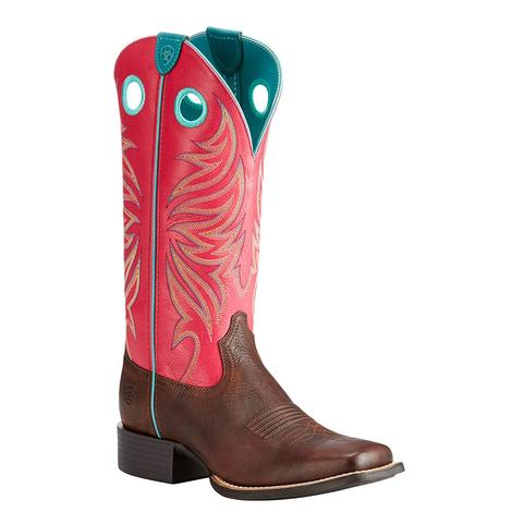 Ariat Womens Round Up Ryder Yukon Chocolate Magenta Boot