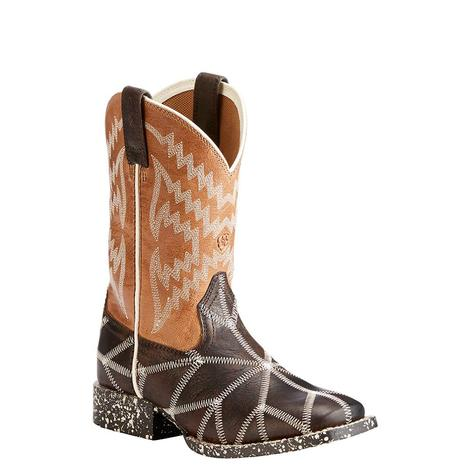 Ariat Kids Brown and Tan Glow in the Dark Spiderweb Boot