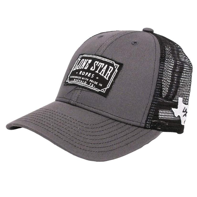 Lone Star Rope Grey And Black Patch Mesh Cap
