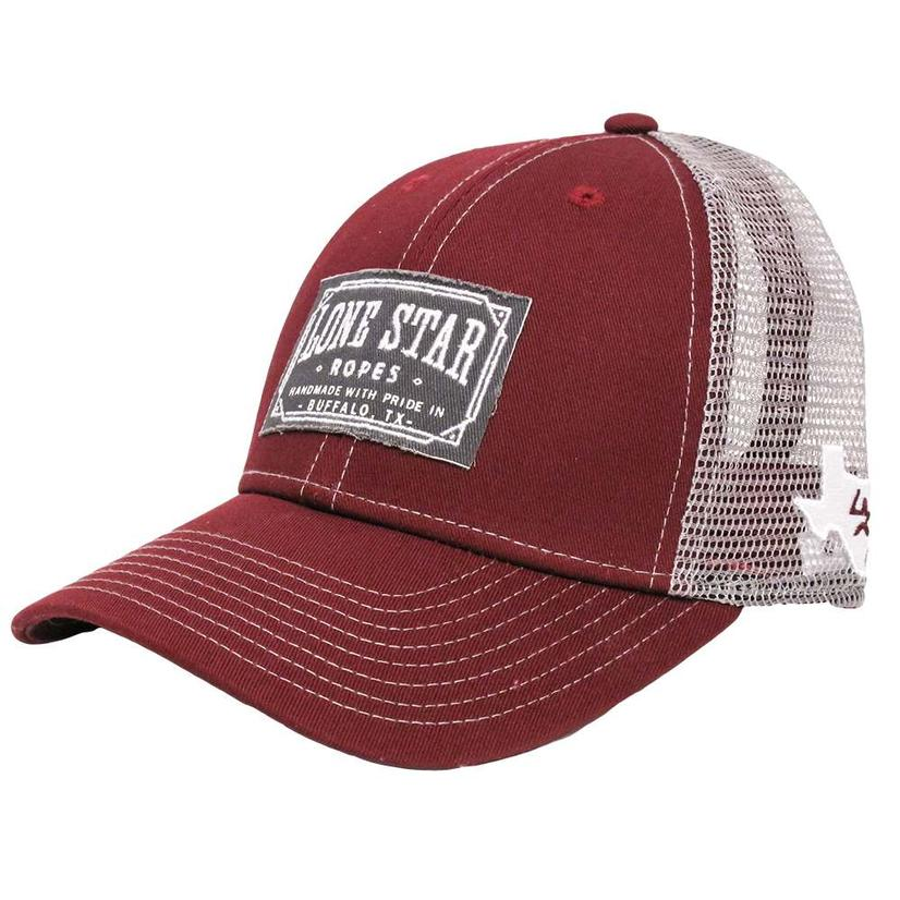 Lone Star Rope Maroon White Patch Cap