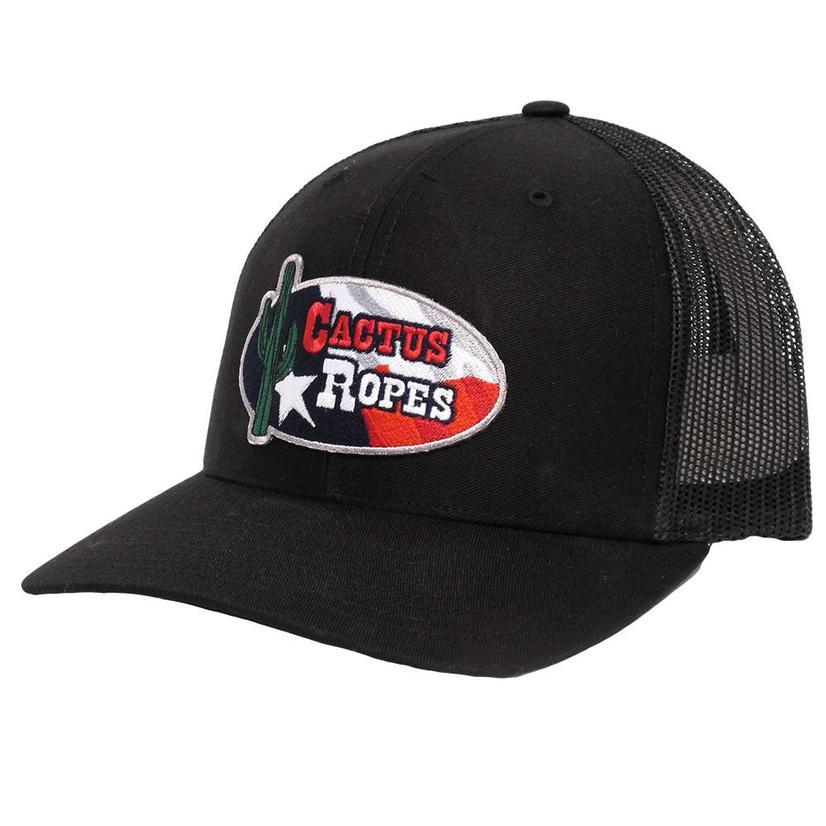 Cactus Ropes Black Texas Flag Patch Cap