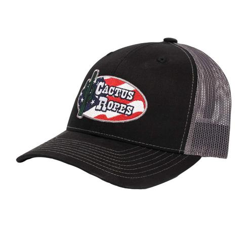 Cactus Ropes Black and Grey US Flag Patch Mesh Cap