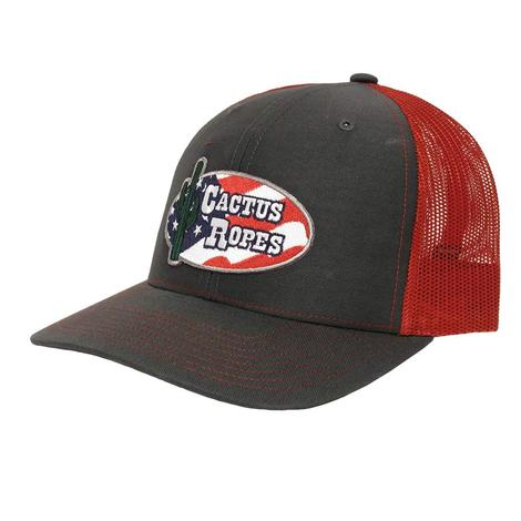 Cactus Ropes Charcoal and Red US Flag Patch Mesh Cap
