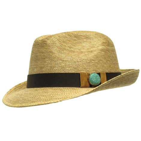 Atwood Kelsey Turquoise Brown Band Straw Fedora