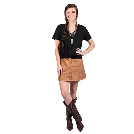 Womens Faux Suede Button Down Skirt
