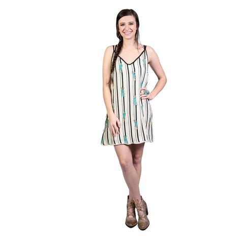 Womens Cream and Black Stripe Cactus Dress