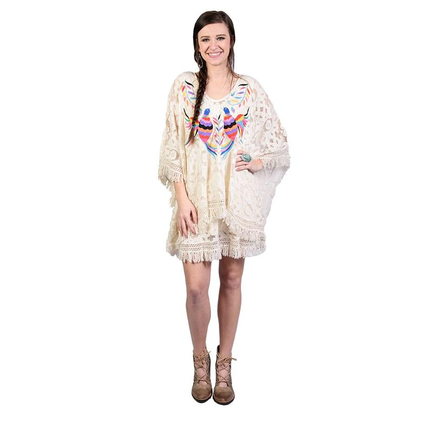 Womens Crochet Poncho Embroidered Mexican Style Dress