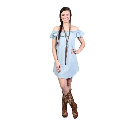 Rock & Roll Cowgirl Light Blue OTS Tencel Dress