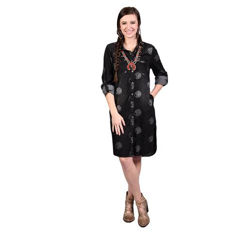 Womens Black Denim Button Down Chief Dress