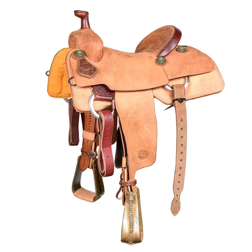 Stt Team Roping Full Roughout Saddle With Rawhide Roper Stirrups